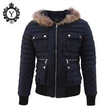 COUTUDI 2016 Winter Männer Kleidung Outwear Beiläufige Jacken Hot Dark blau Fell Kapuze Reißverschluss Winter Daunenjacken Für Männer Warme mäntel