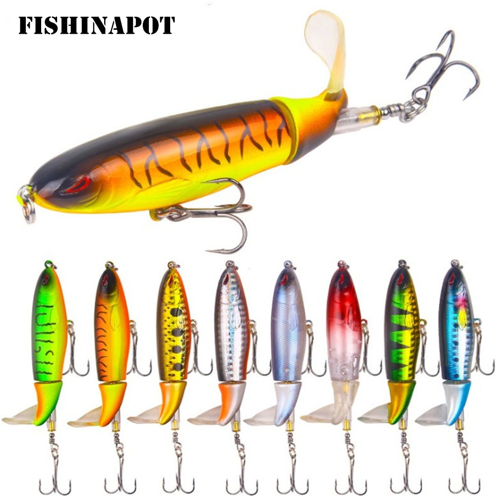 FISHINAPOT Whopper Popper 9cm 13g Topwater Fishing Lure Artificial Hard Bait 3D Eyes Plopper Soft Rotating Tail Fishing Tackle bearking professional fishing lures popper 55mm 7 0g hard baits 3d eyes fishing tackle bearking crankbait good hooks