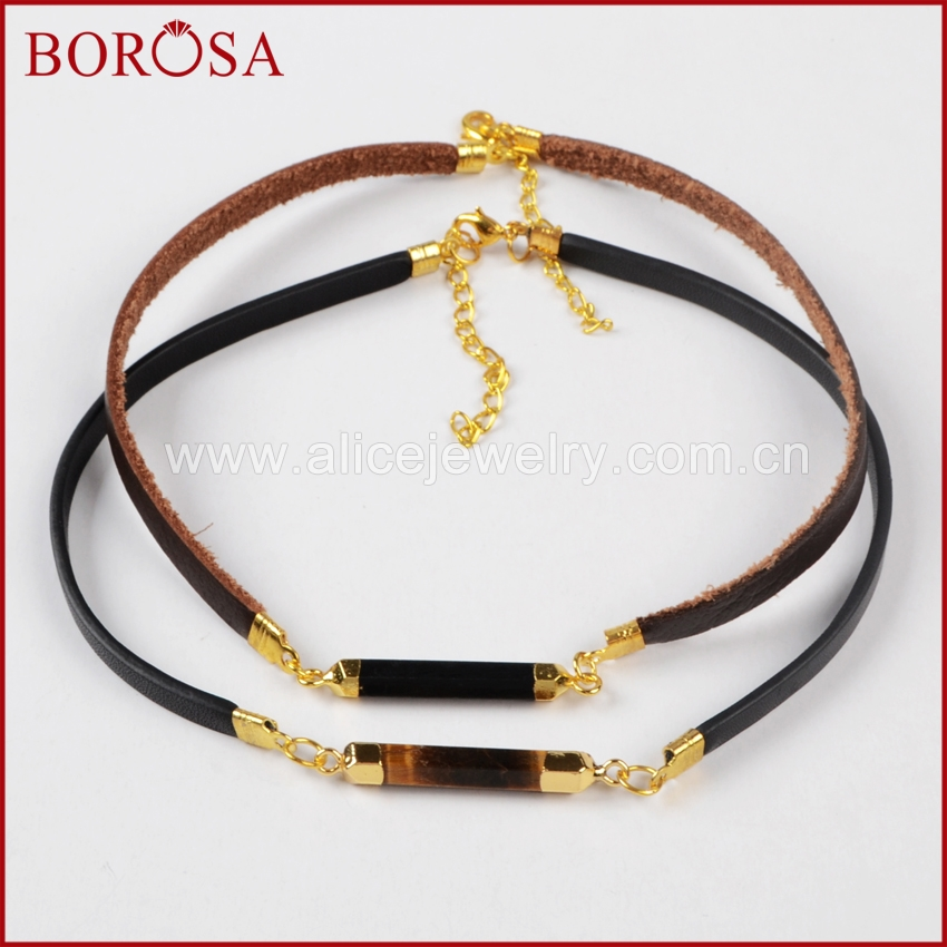 BOROSA New Style Neck strap, Mix Color Choker for Whole Sale, Gold Color Multi-Kind Stones Point Leather Choker Necklace WX264