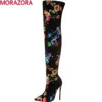 MORAZORA הגעה חדשה חמה למכירה סתיו חורף אופנה מגפי הברך עקבים גבוהים נשי מגפי נעלי גודל גדול 34-43