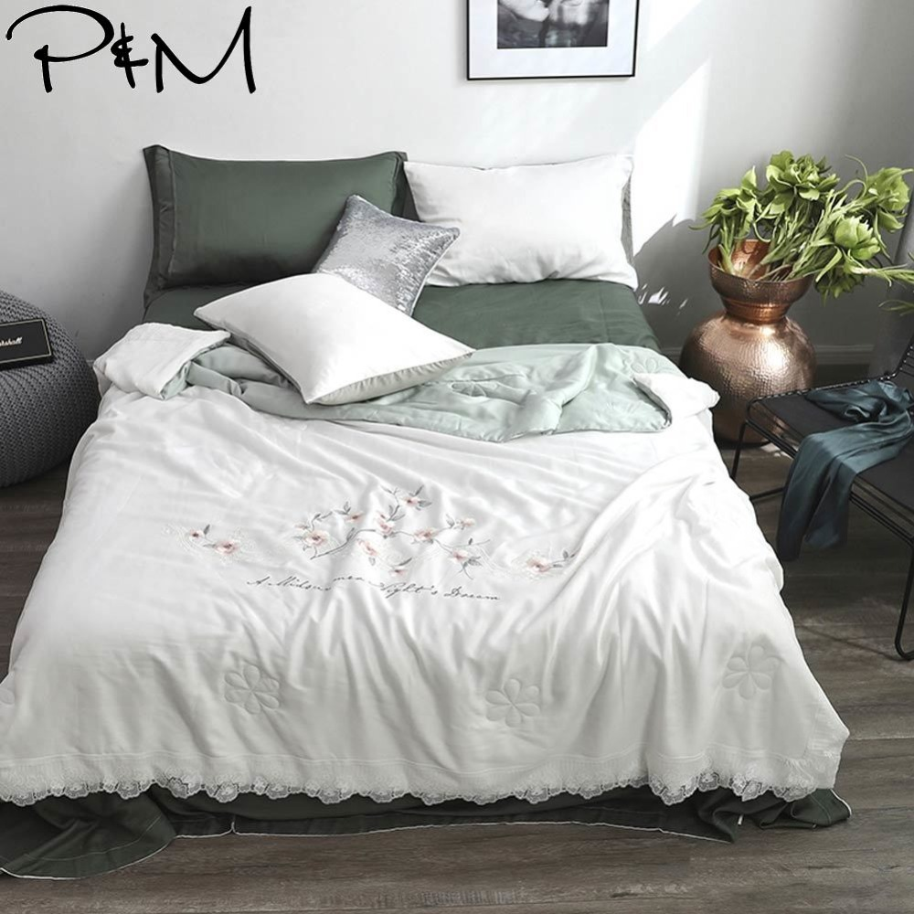 2019 White Flowers Brief Lace Air-condition Thin Summer Quilt Embroidery Comforter Artificial Silk Fabric Polyester Queen Size2019 White Flowers Brief Lace Air-condition Thin Summer Quilt Embroidery Comforter Artificial Silk Fabric Polyester Queen Size