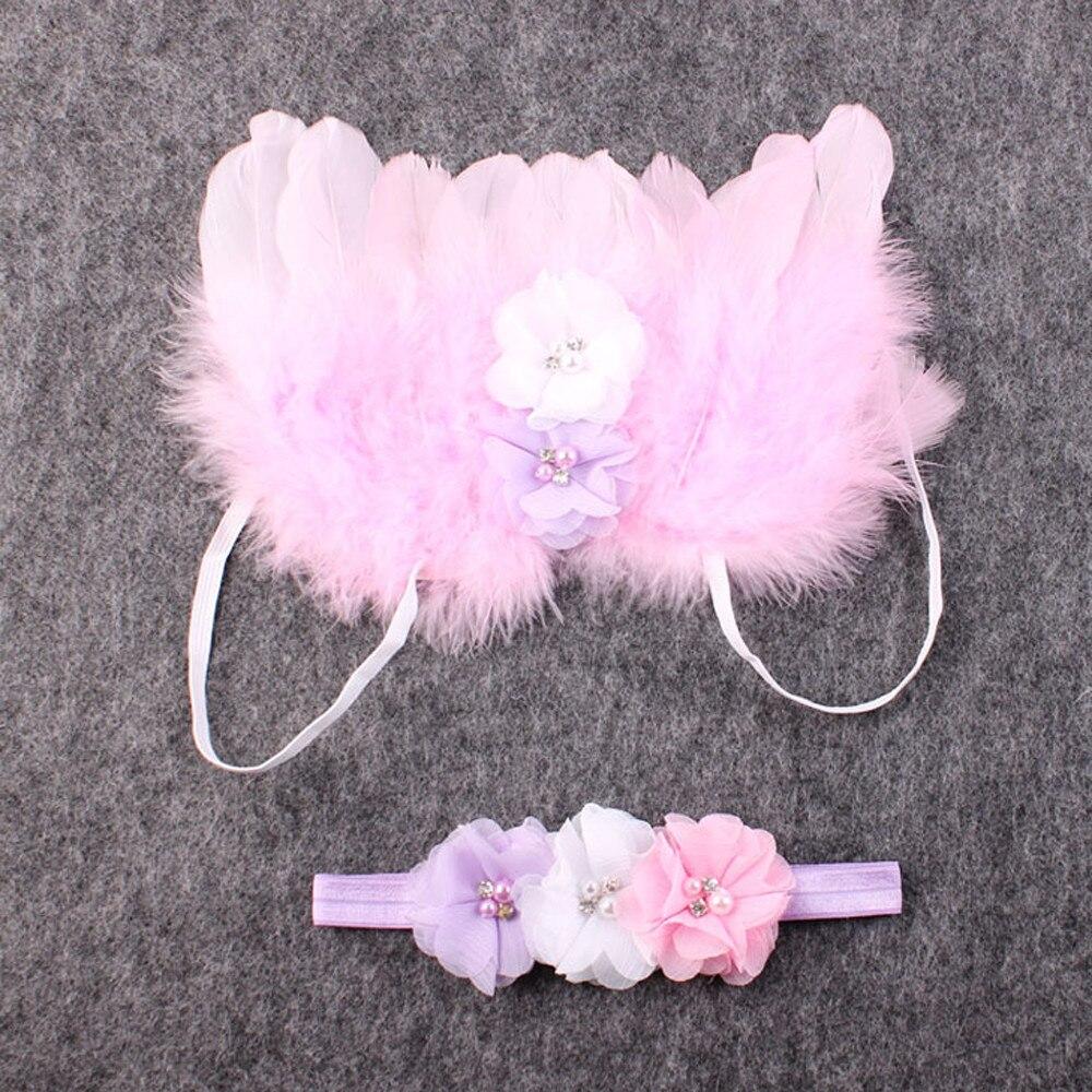 2018 Neue 2 Stücke Tuch Rosa Baby Mädchen Blume Haar Band Headwear Mit Engel Schmetterling Feder Flügel Haar Zubehör Werkzeug Se7
