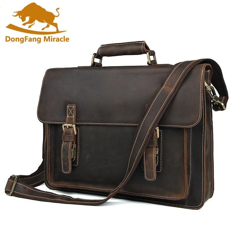 Top Layer Leather Messenger Bag High Quality Business Briefcases Crazy Horse Leather Handbag Brand New Shoulder Bag For Men стоимость