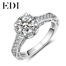 EDI Classic Genuine 1ct Round Cut Moissanites Diamond Halo Wedding Rings Real 14k 585 White Gold Engagement Bands Fine Jewelry