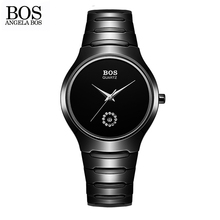 ANGELA BOS Simple Lovers Couple Watch Luxury Brand Quartz Watches Women Men Stainless Steel Waterproof Black Ladies Wristwatches