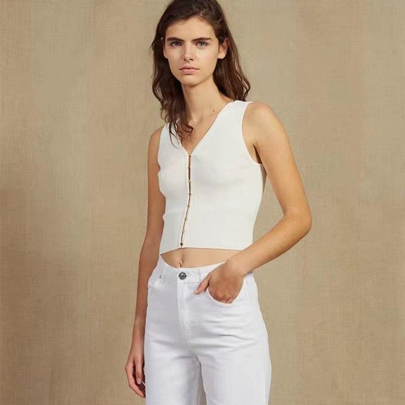 DEIVE TEGER 2019 nouveau été femmes Bandage haut chemisier Sexy sans manches réservoir mode dame solide blanc Crop moulante haut