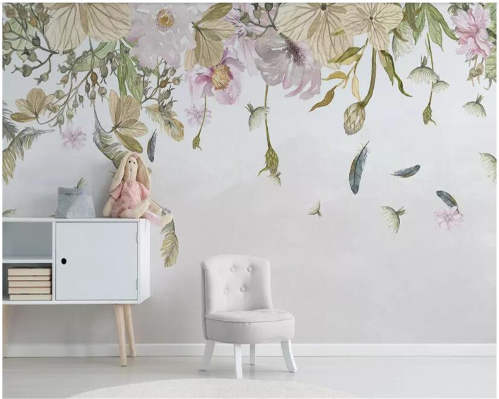 beibehang Modern minimalistic small fresh leaves floral feathers watercolor style background wall papel de parede hudas beauty