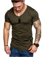 MarKyi 2019 mens tshirts summer short sleeve t shirt homme for men slim fit solid t-shirts