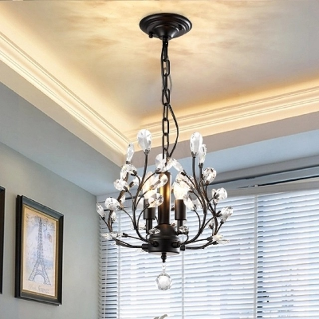 American Small Chandelier Bedroom Corridor Entrance Aisle Nordic Cloakroom Crystal Lamp Tree Twist Personality Restaurant Lights