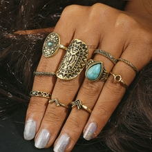 10pcs Vintage Big Stone Midi Ring Set For Women Boho Antique Gold Silver Heart Flower Knuckle Rings Boho Jewelry Anillos Gift tocona vintage antique silver big black rhinestone ring ethnic flower carving ring set steampunk knuckle ring women jewelry 4174
