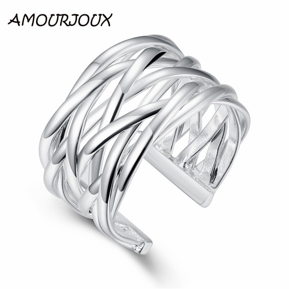 AMOURJOUX Open Braided Wide Silver Plated Jewelry Ring For Women Silver Rings For Weddin ...