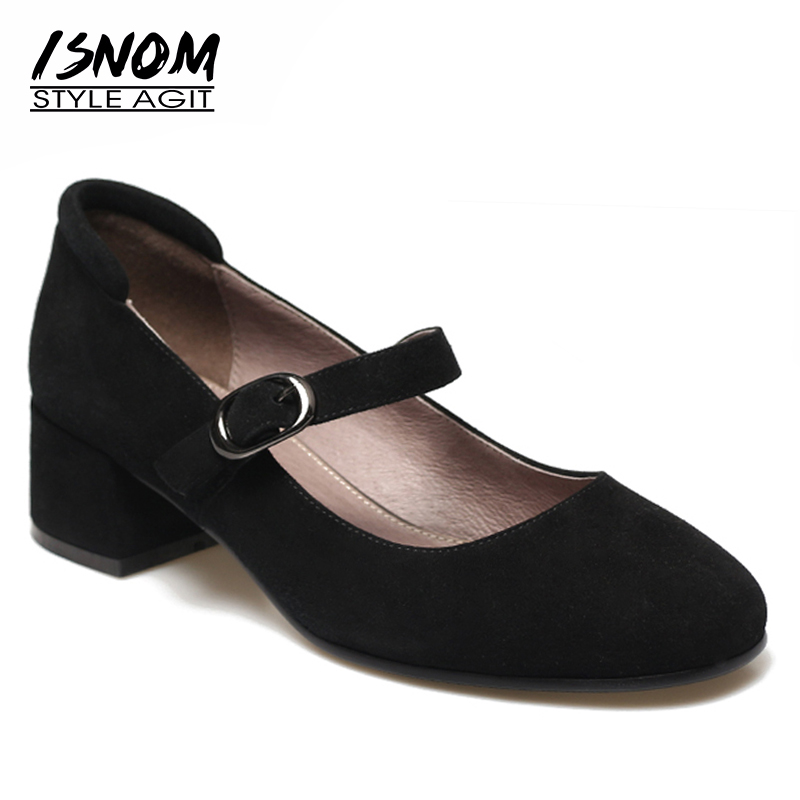 ISNOM Mary Jane Pumps Kid Suede Shoes Women Round Toe Footwear Female Buckle Strap Thick Heels Shoes Woman New 2019 SpringISNOM Mary Jane Pumps Kid Suede Shoes Women Round Toe Footwear Female Buckle Strap Thick Heels Shoes Woman New 2019 Spring
