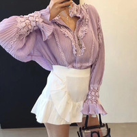 Korean lace patchwork Women purple Shirts 2018 Long Sleeve Women's elegant Blouse Female All Match femme Clothing Ladies Tops