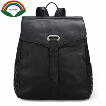 2017 натуральная кожа заклепки рюкзаки женские из коровьей кожи личи шаблон дорожная сумка дизайн бренд школьные сумки для девочек