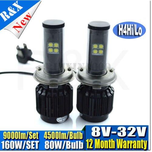 Canbus H4 ALL IN ONE KIT 9000LM 160W car led headlight kit  8V-32V led bulb XML led headlamp HB2 9003 no defective H13 9004 9007 sitemap 32 xml