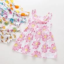 купить Children's dress new cotton silk summer dress girl with halter rayon knee-length dress дешево