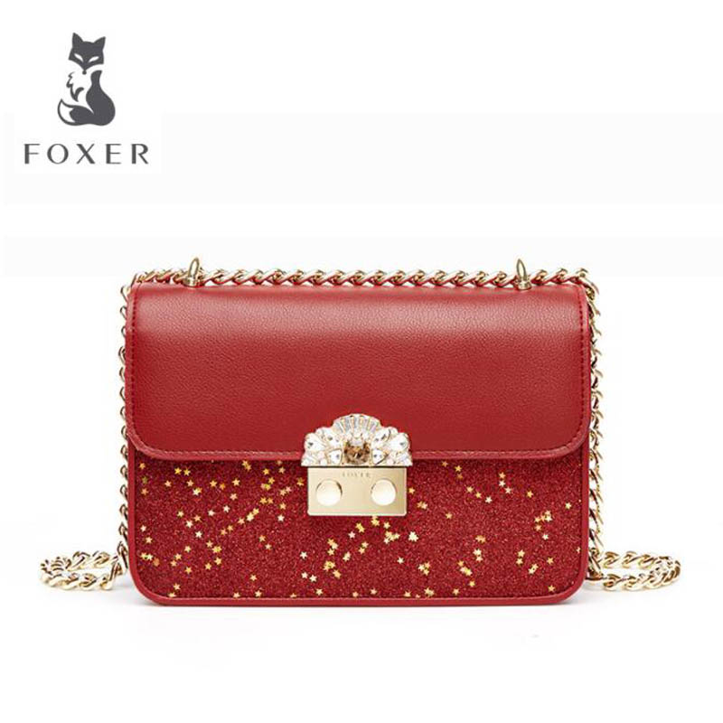 FOXER 2018 New women leather bag fashion Chain luxury small bags women handbags designer shoulder bag Handbags & Crossbody bags new fashion women leather handbags 2017 luxury designer patchwork shoulder bags small crossbody bag with chain for women girls