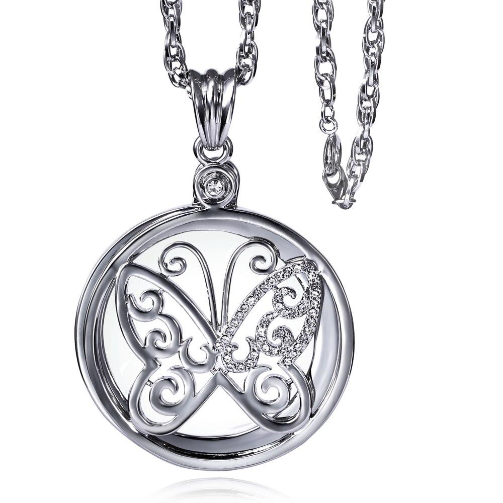 Figura della farfalla collana chain di Cristallo lunga collana a catena Con 2X Lente di Ingrandimento Lettura Quotidiana Scopo Finestra Rotonda