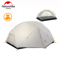 Naturehike 2 Person Tent Ultralight Outdoor Camping Tent Waterproof 20D Nylon Fabic 3 Season Tourism Hiking Tents With Free Mat