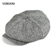 VOBOOM Wolle Männer Frauen Zeitungsjunge 8 Panel Flat Cap Frühling Herbst Atmungs Gatsby Ivy Cabbie Hut mit Seidenfutter 132