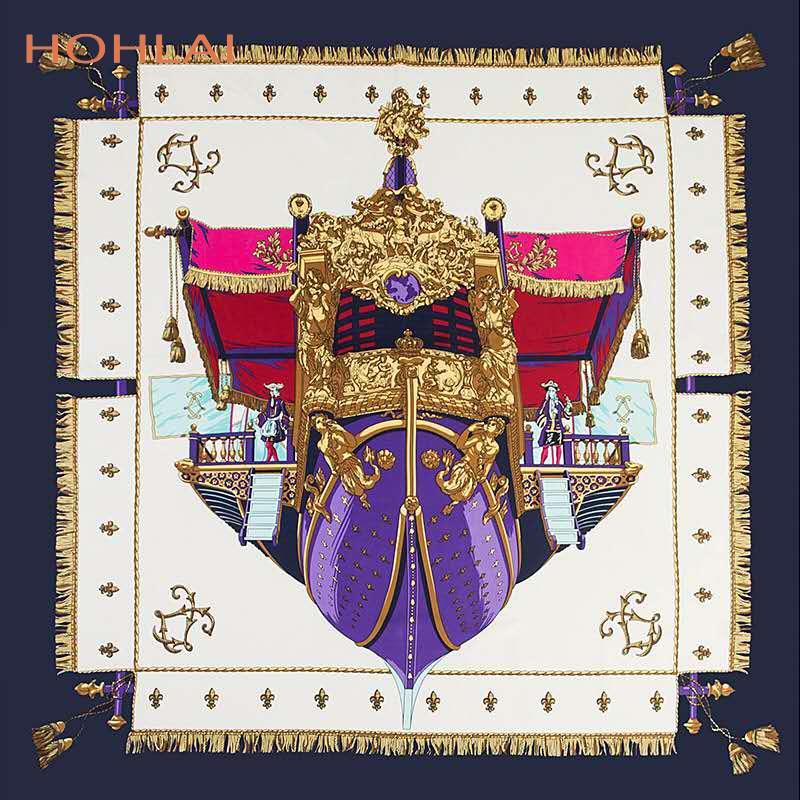 Luxury Brand 130cm Square Scarf Warship Print Twill 100% Silk Scarf Women Scarves Tassels Kerchief For Ladies Shawl Echarpe