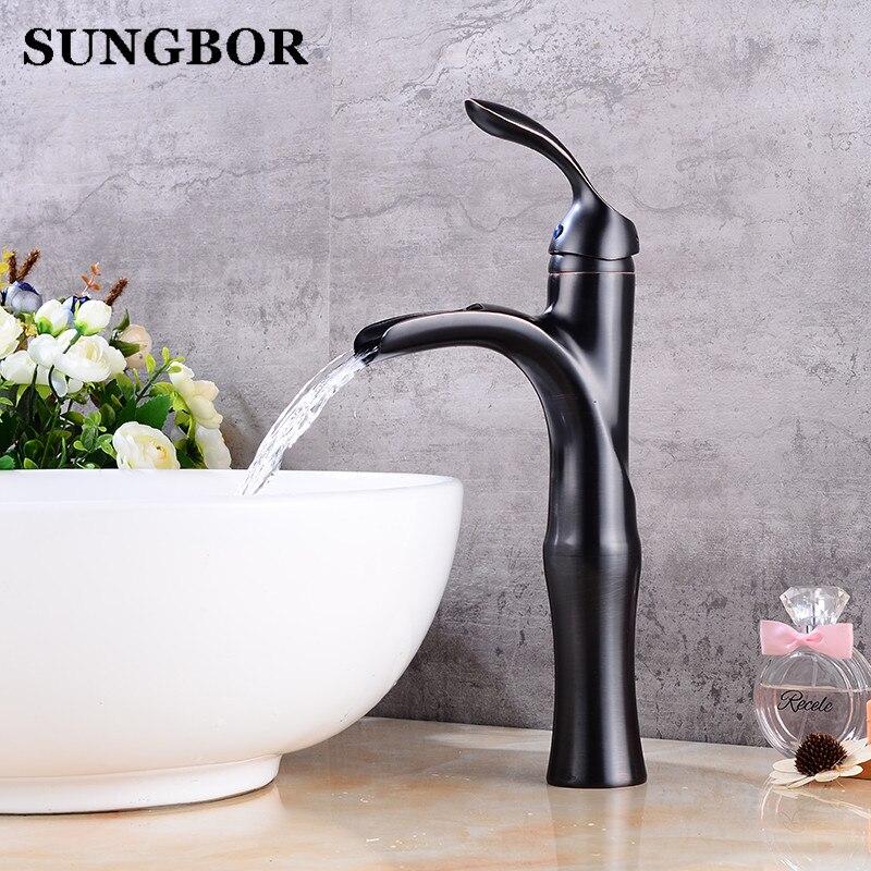 Black waterfall sink tap bathroom faucet basin sink tap antique brass black waterfall faucet mixer tap Vintage water faucet