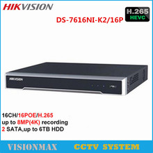 Hikvision CCTV 16CH 4K NVR DS-7616NI-K2/16P H.265 16POE Network Video Recorder Onvif 2 SATA interfaces HDMI Surveillance System