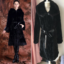 2016 ultra plus size slim long 100% genuine real women natural MINK FUR COAT black color with hood overcoat winter lady jacket