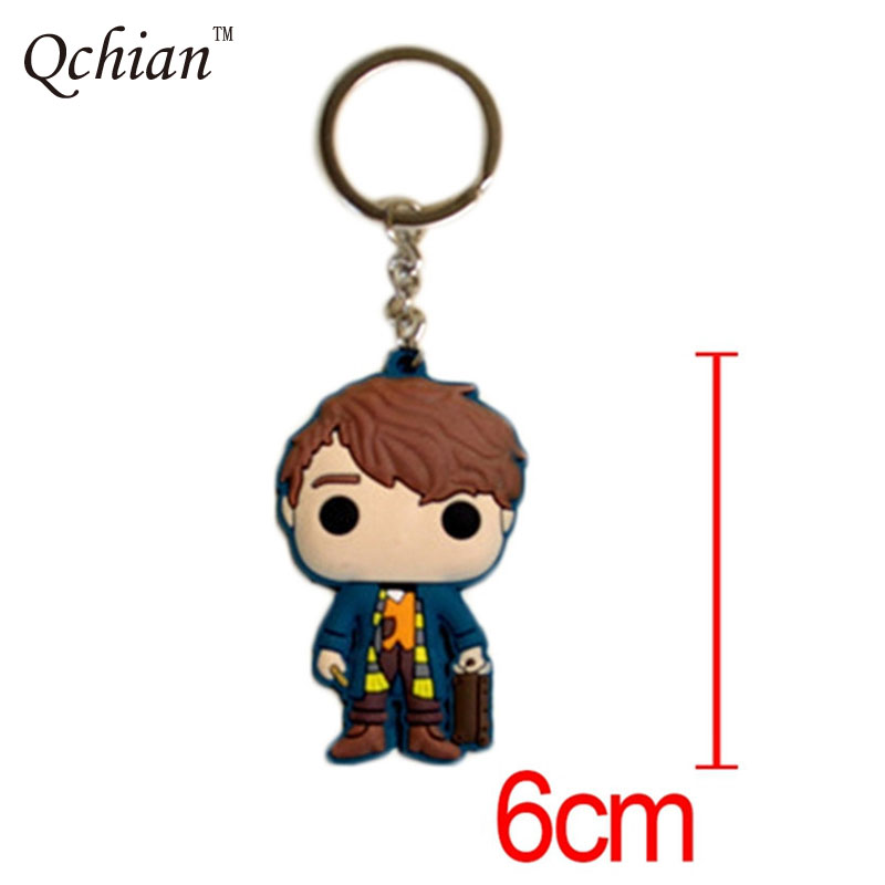 Double-sided Silicone Decorative Pendant Fantastic Beasts Newt Queenie Backpack Car Key Jewelry Keychain
