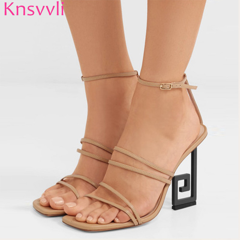 Knsvvli 2019 Runway Strange Style High heels Sandals Women Narrow Band Novelty Summer Shoes Ankle Buckle