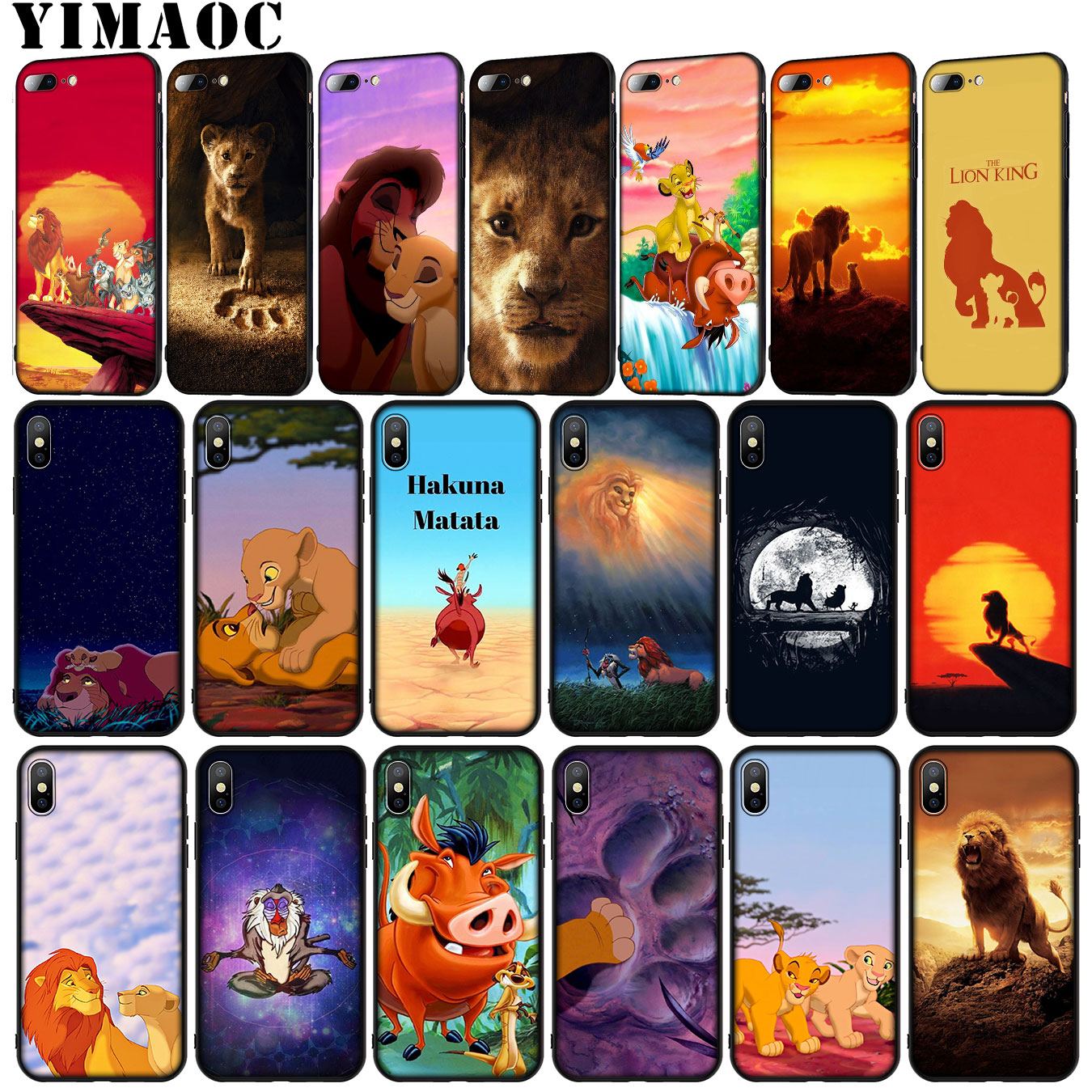 YIMAOC Cartoon The <font><b>lion</b></font> <font><b>king</b></font> 2019 Soft Silicone Phone <font><b>Case</b></font> for <font><b>iPhone</b></font> XR X XS Max X <font><b>6</b></font> 6S 7 8 Plus 5 5S SE Black TPU Cover image