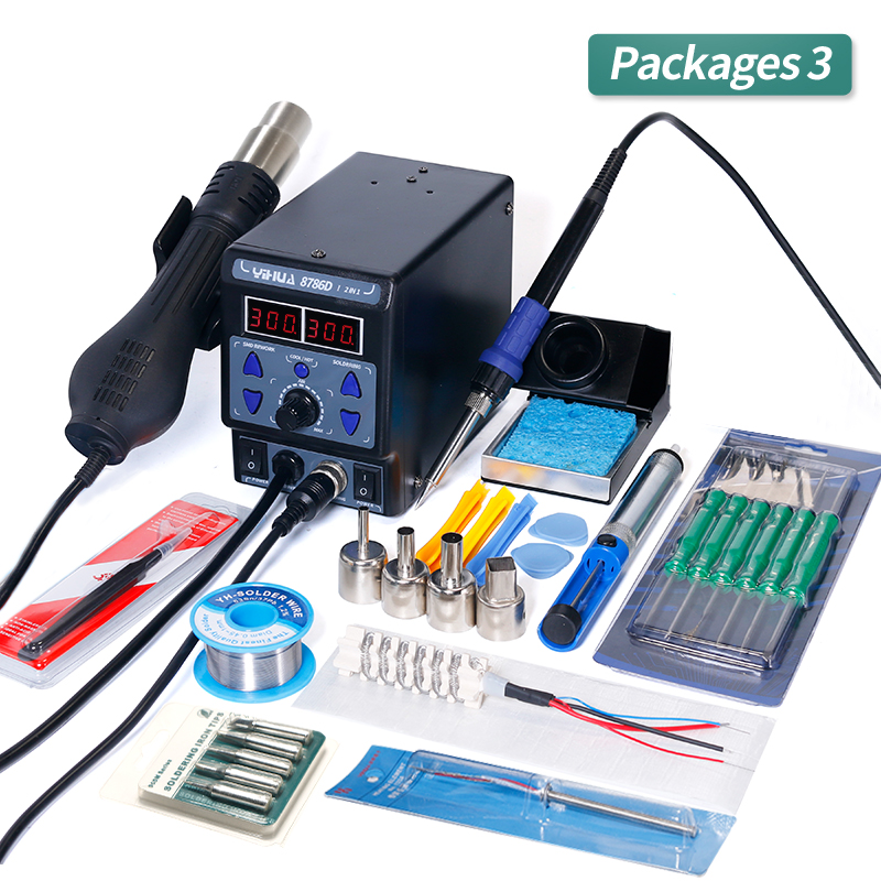 YIHUA 8786D Soldering Station Digital Display Hot Air Heat Gun Welding Station BGA Rework Station Soldering Iron Station