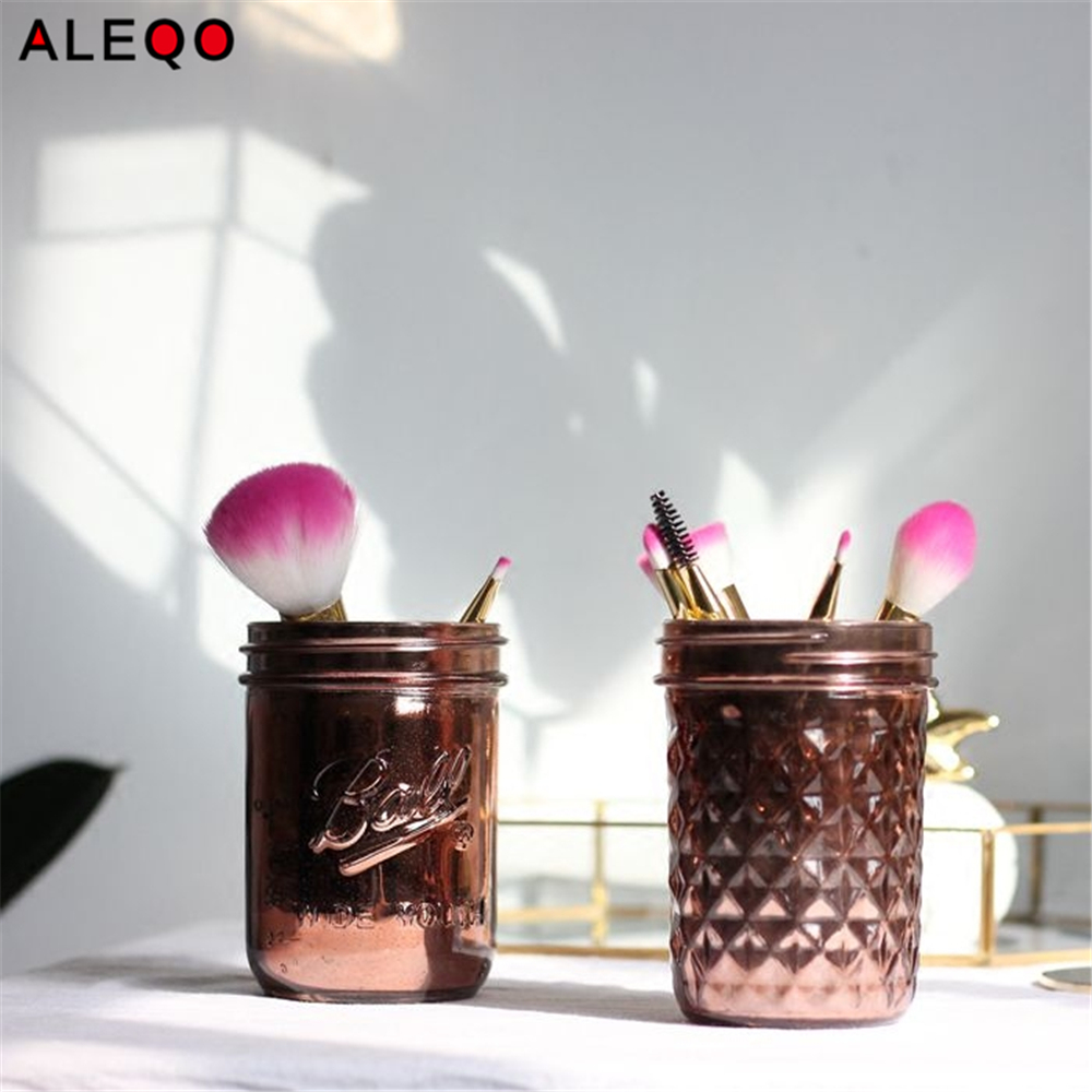 Vogue Chic Rose Gold Storage Bottle Jar Superior Minimalist Elegant Luxury Salt Sugar Pepper Makeup Brush