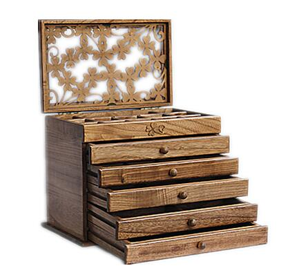 Clover real wood jewelry box retro style large multilayer marriage