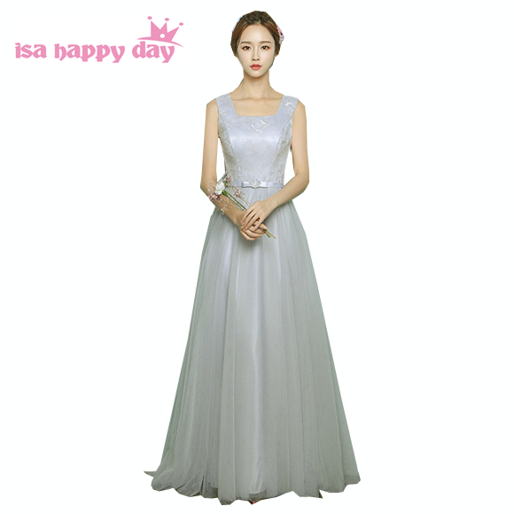 robe de marie 2019 new arrival flowered applique lace up back   bridesmaid     dress   grey long length special occasion   dresses   H3904