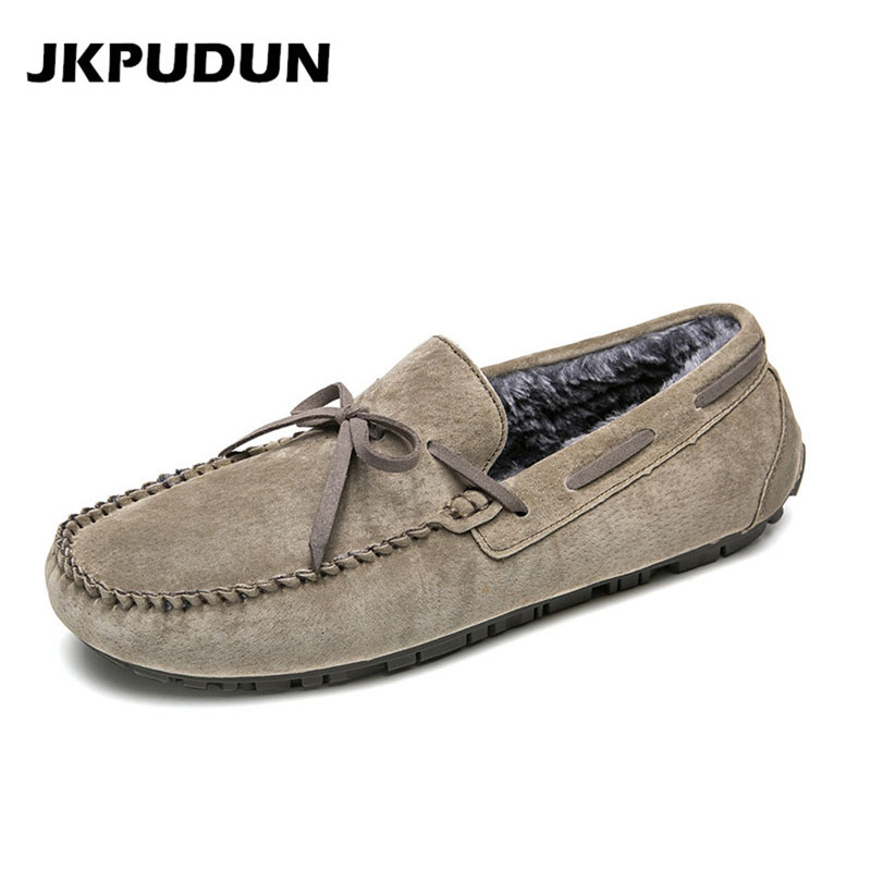 JKPUDUN Suede Leather Casual Shoes Men Loafers Luxury