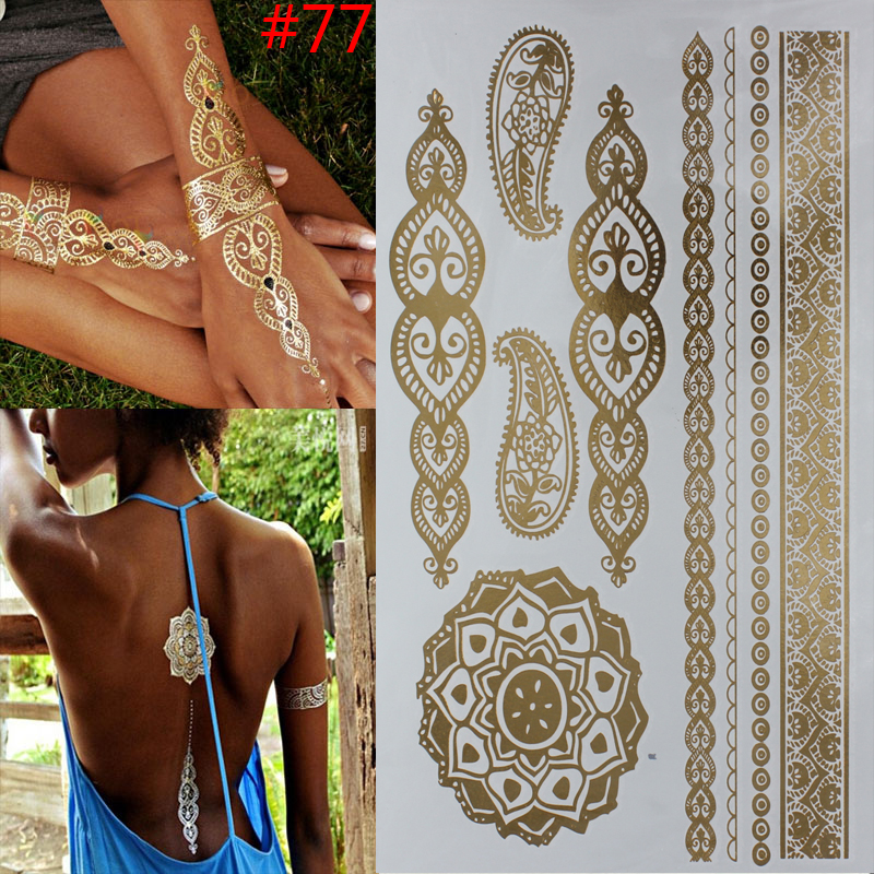 Hot Temporary tattoo Gold tattoo Flash Tattoos Leaf Tatoos Metallic Sex Products jewelry Henna Tatouage Body art tatto stickers