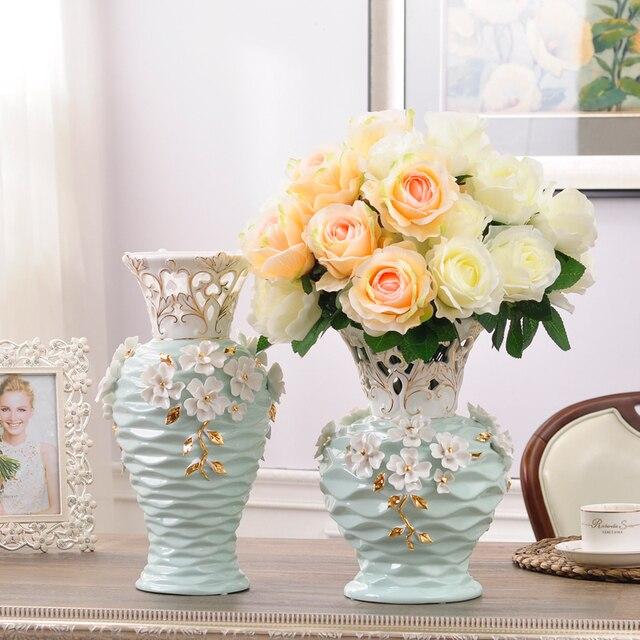 hollow flores blancas decoracin del hogar florero de cermica piso grande jarrones para la decoracin de - Decoracion Jarrones