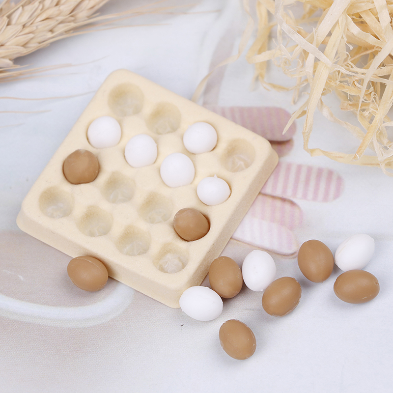 1:12 A Dozen Egg +Tray Candy Food Toy Match Collectible Gift Furniture Toys Dollhouse Miniature
