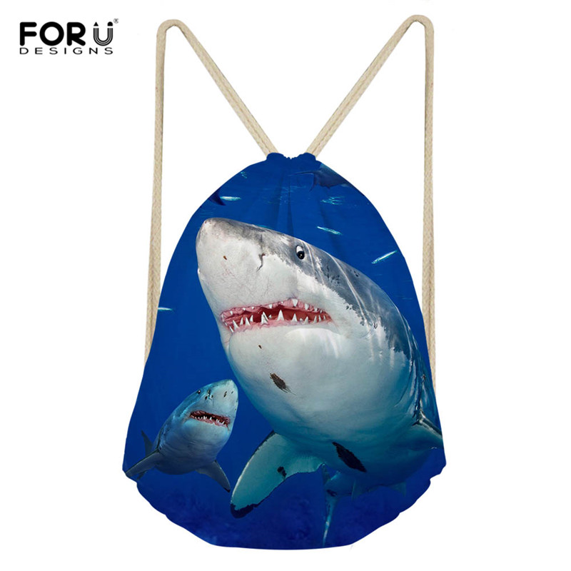 FORUDESIGNS Shark Dinosaur Backpack For Teenage Boys Girls Women Polyester String Drawstring Bag Cinch Sack Gym Bag Sport Bag