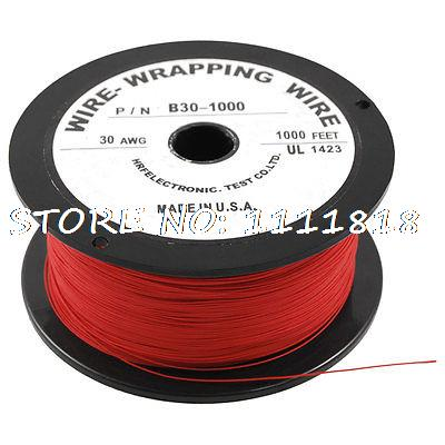 PCB Solder Red Flexible 0.25mm Core Dia 30AWG Wire Wrapping Wrap 1000Ft white flexible 30awg wire cable high temperature resistant wrapping wrap 315m