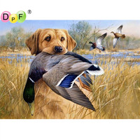 Needlework Full Square Diamond Painting Cross Stitch Animals Hunting Dog 5D Diamond Mosaic Embroidery Canvas Home