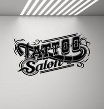 Calcomanía de vinilo para pared de salón de tatuajes, póster con logotipo de tienda de tatuajes, diseño de estudio, pegatina para puerta y ventana, decoración de pared, mural artístico 2WS05