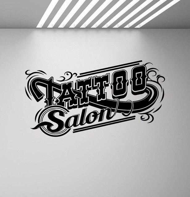 Salão de tatuagem decalque da parede do vinil tatuagem loja logotipo cartaz estúdio design porta e janela adesivo decoração arte da parede mural 2ws05