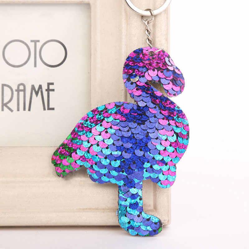 Фламинго звезда Единорог кошка брелок Блестящий помпон блестки Подарочная цепочка для ключей для женщин Llaveros Mujer автомобильный мешок аксессуары на кольцо для ключей