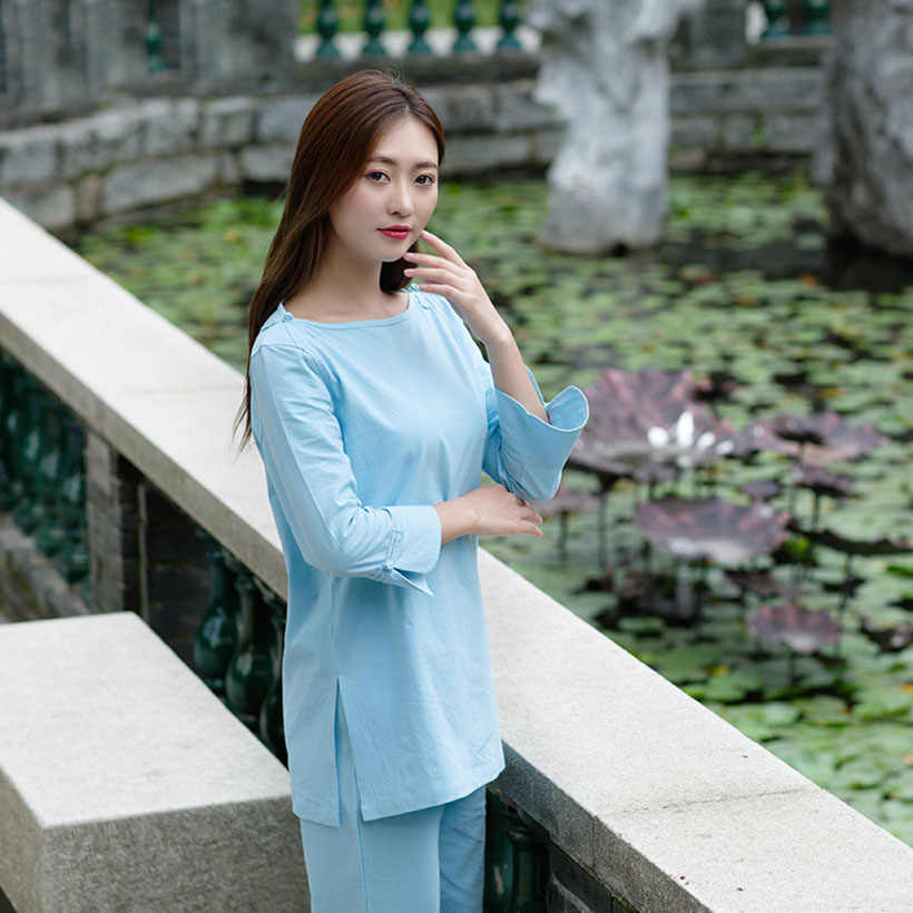 High Quality linen Chinese Martial Arts Long sleeve Tai Chi clothing Suit uniforms Performance women casual Yoga clothing