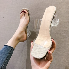 New Women PVC Transparent Slippers 2019 Summer Open Toed Crystal High Heels Womens Heel Pumps Shoes