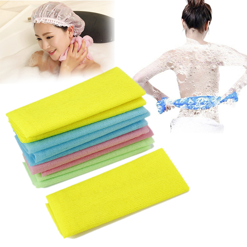 1 Pcs Nylon Exfoliating Bath Shower Body Cleaning Washing Scrubbing Towel Scrubbers Products Random Color TSLM2