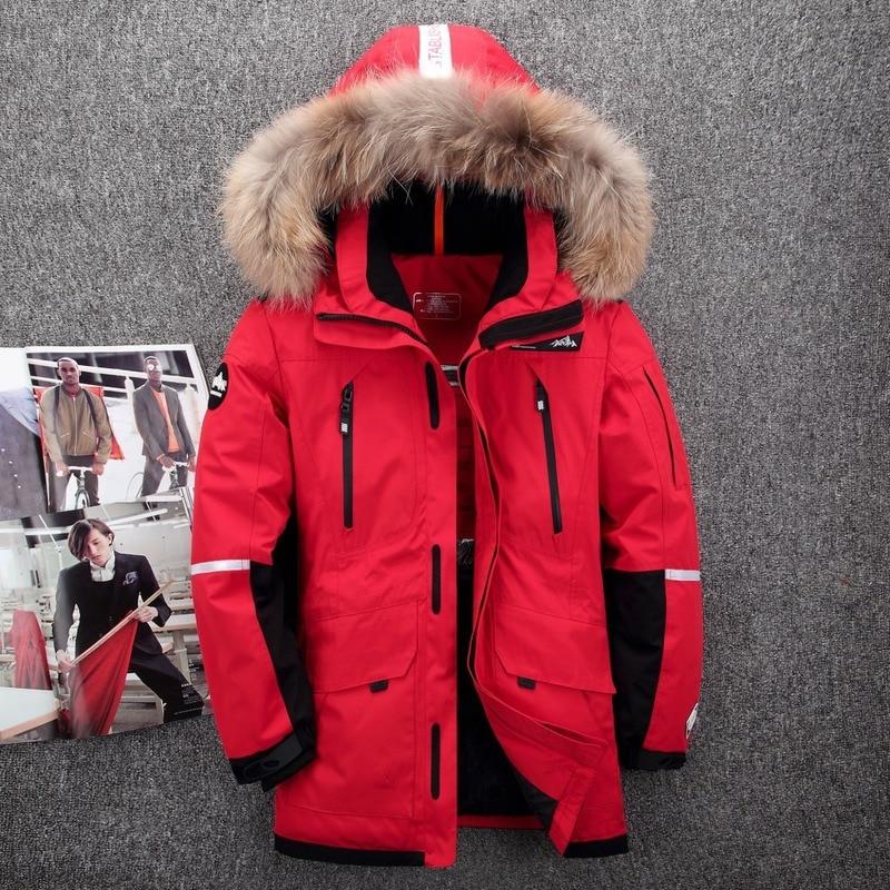 YuWaiJiaRen Fur Hooded Duck   Down   Jackets Men Warm High Quality Windproof Waterproof   Down     Coats   Male Winter Outerwer   Down   Parkas