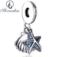 Slovecabin Summer Authentic 925 Sterling Silver Tropical Starfish Seashell Pendant Charms For Jewelry Making Wholesale Beads